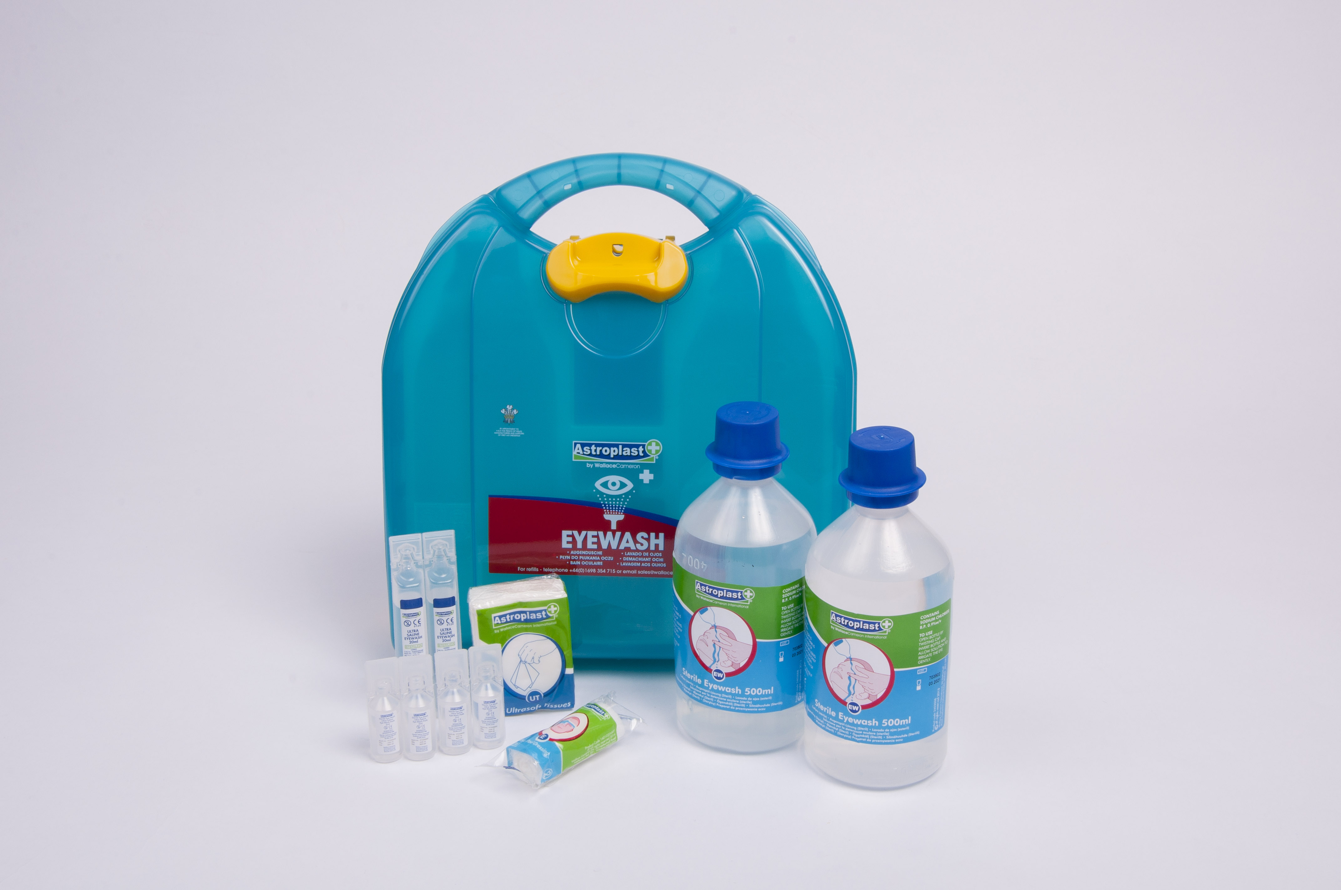Immerse Supplies emergency eyewash kit contents out of box