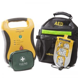 Defibtech Lifeline Automated External Defibrillator (AED), Softshell Case, AED Prep Kit and Adult Electrode Pads